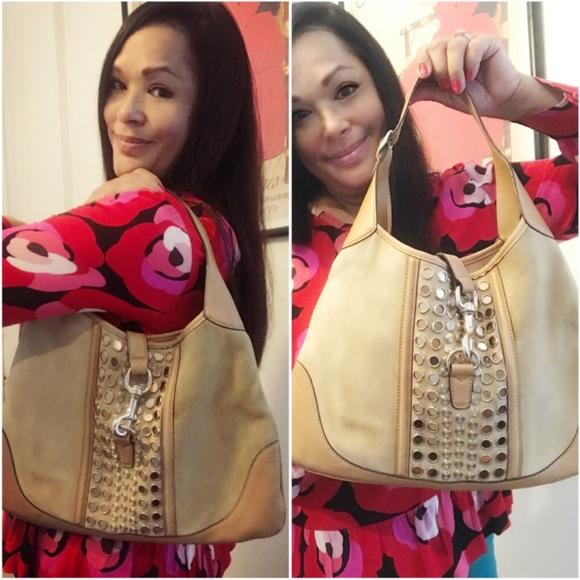 GUCCI RARE Jackie O Studded Suede Shoulder Bag
